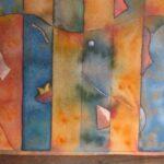 Abstracto colores Naranja y Azules 1,999 39X28 Cms Acuarela