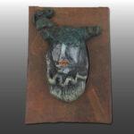 Escultura Rostro 3 con sombrero verde 9X13 Cms 2,017 Resina