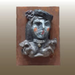 Escultura Rostro 4 con sombrero y collar 9X13 Cms 2,017 Resina