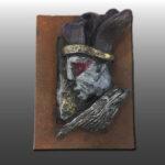 Escultura Rostro 5 con sombrero negro 9X13 Cms 2,017 Resina